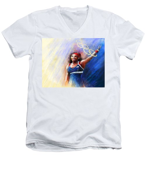 2012 Tennis Olympics Gold Medal Serena Williams Men's V-Neck T-Shirt by Miki De Goodaboom