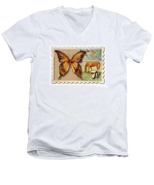7 Cent Butterfly Stamp Men's V-Neck T-Shirt by Amy Kirkpatrick