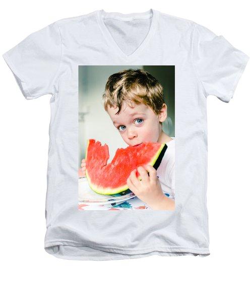A Slice Of Life Men's V-Neck T-Shirt by Marco Oliveira