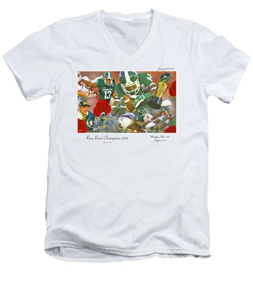 A Very Sweet Rose Men's V-Neck T-Shirt by John Farr