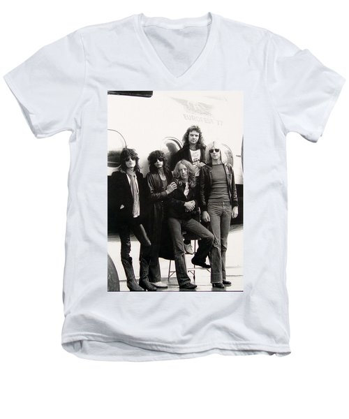Aerosmith - Eurofest Jet 1977 Men's V-Neck T-Shirt by Epic Rights