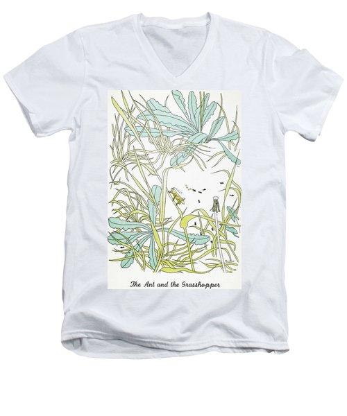 Aesop: Ant & Grasshopper Men's V-Neck T-Shirt by Granger