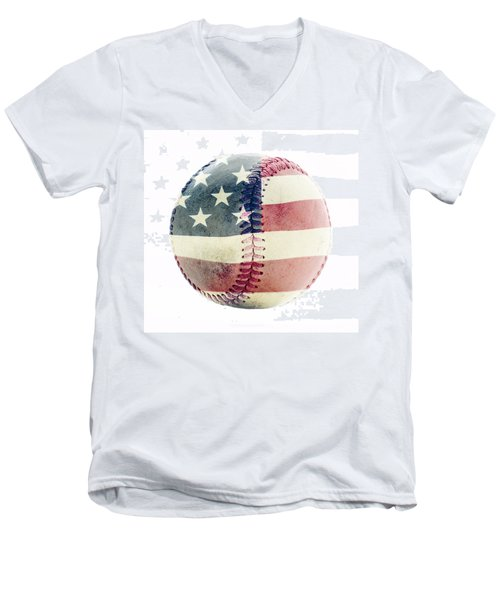 American Baseball Men's V-Neck T-Shirt by Terry DeLuco