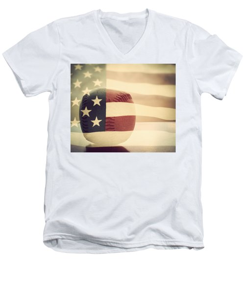 Americana Baseball  Men's V-Neck T-Shirt by Terry DeLuco