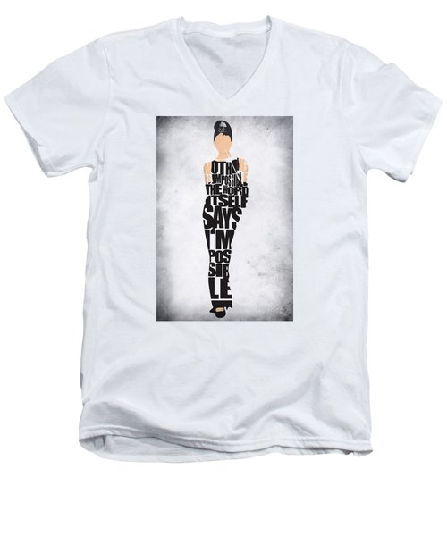 Audrey Hepburn Typography Poster Men's V-Neck T-Shirt by Ayse Deniz