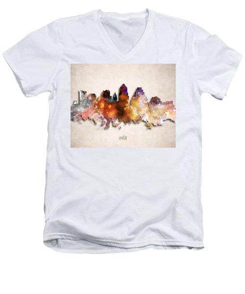 Austin Painted City Skyline Men's V-Neck T-Shirt by World Art Prints And Designs