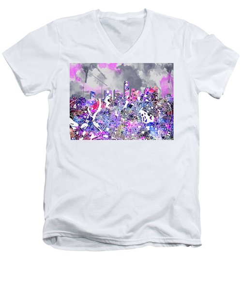 Austin Texas Watercolor Panorama2 Men's V-Neck T-Shirt by Bekim Art