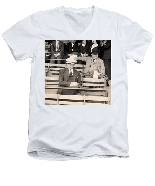 Babe Ruth In The Stands At Griffith Stadium 1922 Men's V-Neck T-Shirt by Mountain Dreams
