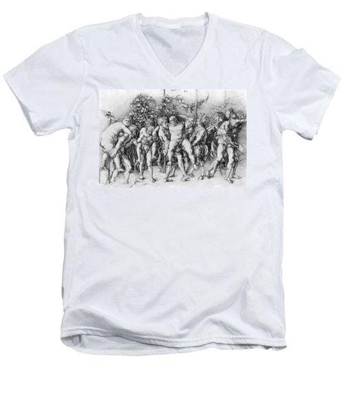Bacchanal With Silenus - Albrecht Durer Men's V-Neck T-Shirt by Daniel Hagerman