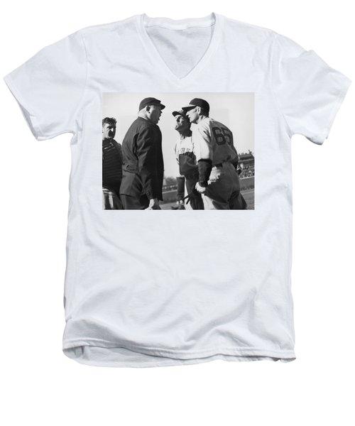 Baseball Umpire Dispute Men's V-Neck T-Shirt by Underwood Archives