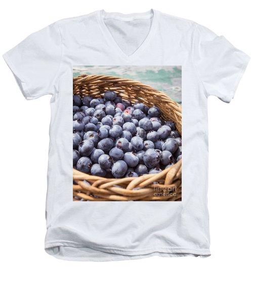 Basket Of Fresh Picked Blueberries Men's V-Neck T-Shirt by Edward Fielding