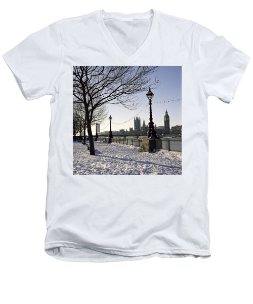Big Ben Westminster Abbey And Houses Of Parliament In The Snow Men's V-Neck T-Shirt by Robert Hallmann