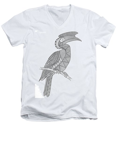 Bird Hornbill Men's V-Neck T-Shirt by Neeti Goswami
