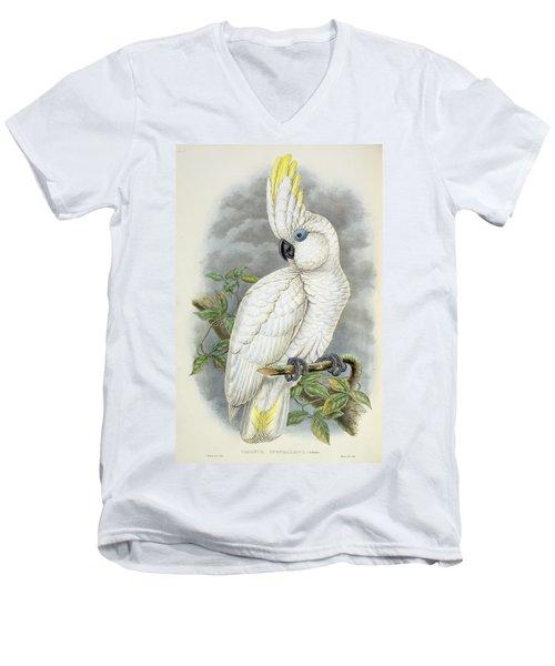 Blue-eyed Cockatoo Men's V-Neck T-Shirt by William Hart