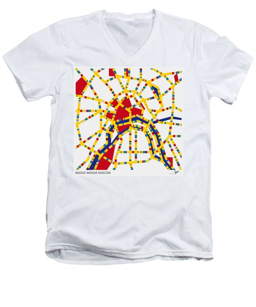 Boogie Woogie Moscow Men's V-Neck T-Shirt by Chungkong Art