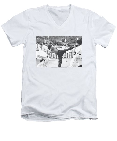 Bruce Lee - Kick To The Head Men's V-Neck T-Shirt by Brand A