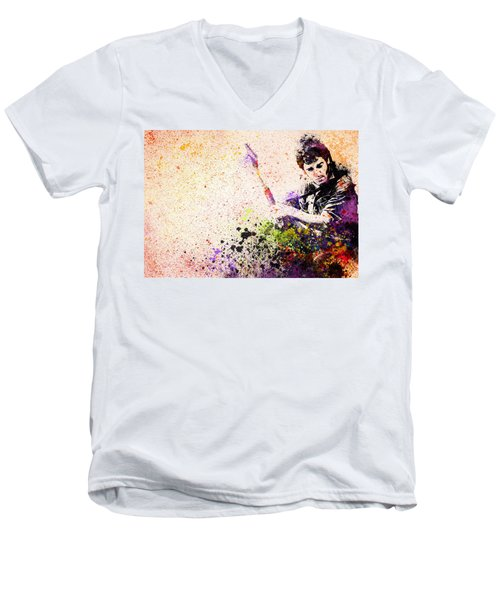 Bruce Springsteen Splats 2 Men's V-Neck T-Shirt by Bekim Art