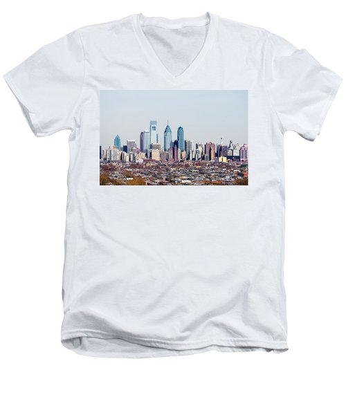 Buildings In A City, Comcast Center Men's V-Neck T-Shirt by Panoramic Images