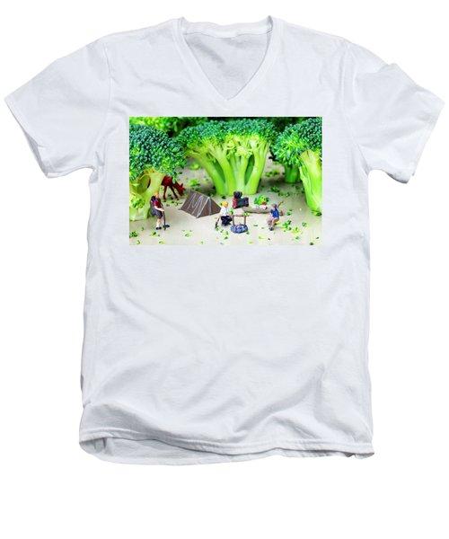 Camping Among Broccoli Jungles Miniature Art Men's V-Neck T-Shirt by Paul Ge