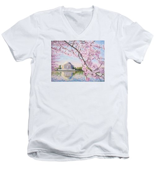 Jefferson Memorial Cherry Blossoms Men's V-Neck T-Shirt by Patty Kay Hall