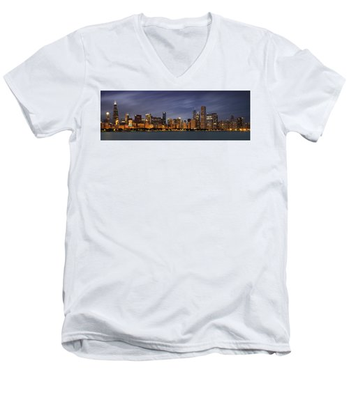 Chicago Skyline At Night Color Panoramic Men's V-Neck T-Shirt by Adam Romanowicz
