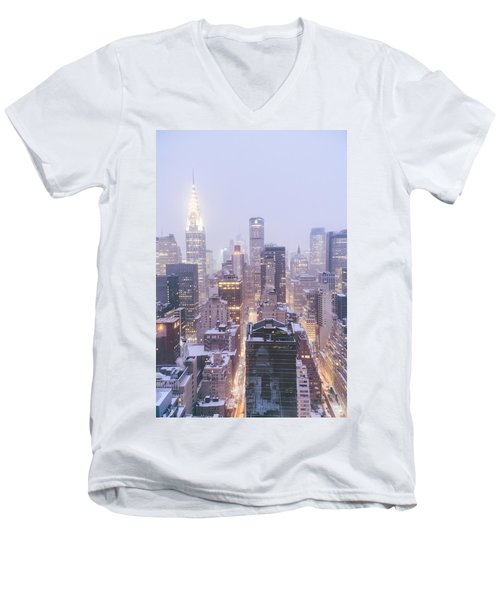 Chrysler Building And Skyscrapers Covered In Snow - New York City Men's V-Neck T-Shirt by Vivienne Gucwa