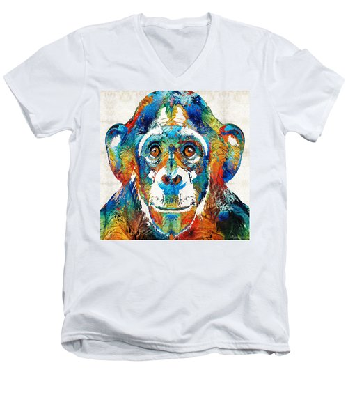 Colorful Chimp Art - Monkey Business - By Sharon Cummings Men's V-Neck T-Shirt by Sharon Cummings