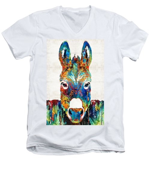 Colorful Donkey Art - Mr. Personality - By Sharon Cummings Men's V-Neck T-Shirt by Sharon Cummings