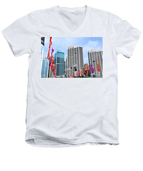 Colorful Flags Lead To City By Kaye Menner Men's V-Neck T-Shirt by Kaye Menner