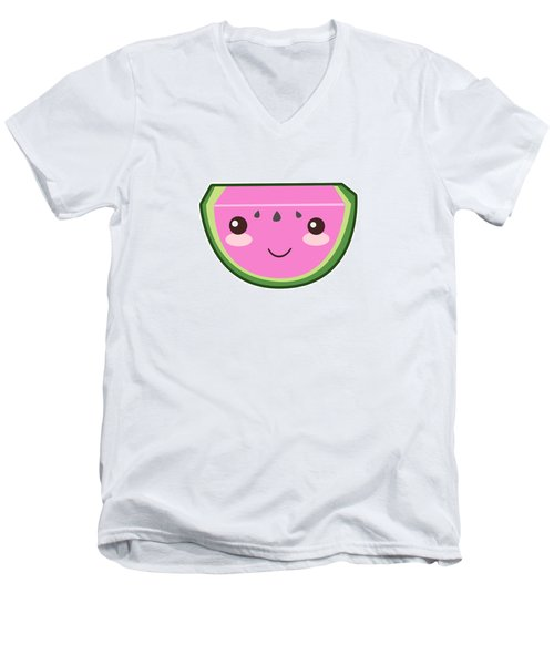 Cute Watermelon Illustration Men's V-Neck T-Shirt by Pati Photography