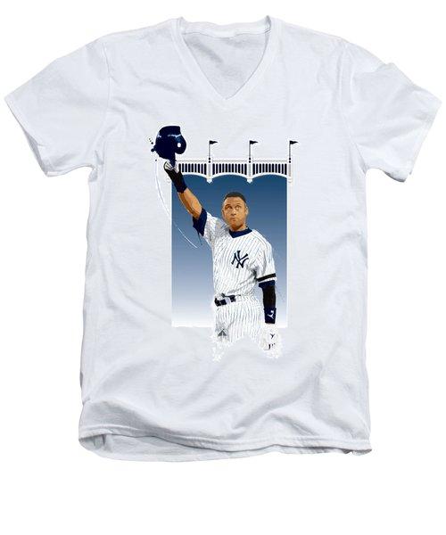 Derek Jeter 3000 Hits Men's V-Neck T-Shirt by Scott Weigner