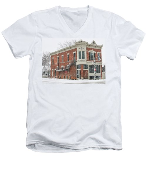 Downtown Whitehouse  7031 Men's V-Neck T-Shirt by Jack Schultz