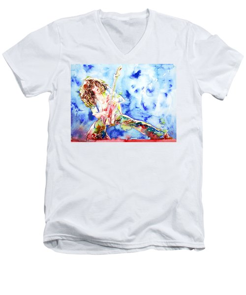 Eddie Van Halen Playing The Guitar.1 Watercolor Portrait Men's V-Neck T-Shirt by Fabrizio Cassetta