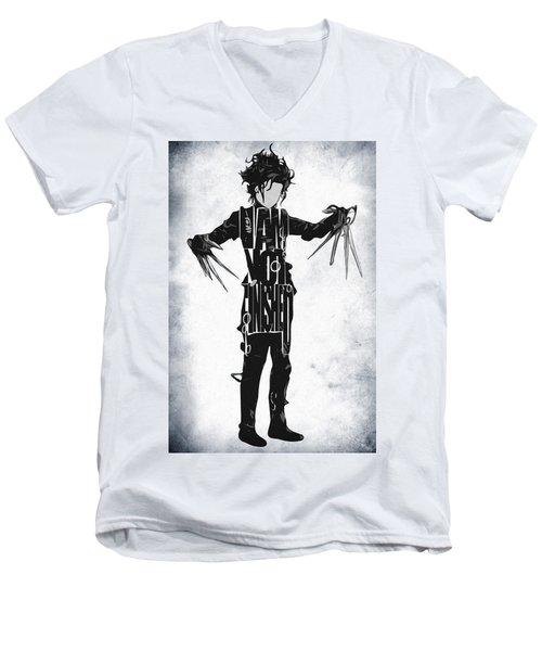 Edward Scissorhands - Johnny Depp Men's V-Neck T-Shirt by Ayse Deniz