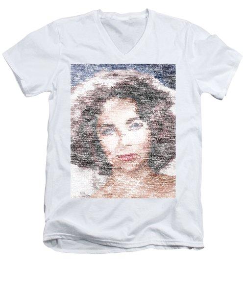Elizabeth Taylor Typo Men's V-Neck T-Shirt by Taylan Apukovska