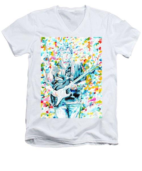 Eric Clapton - Watercolor Portrait Men's V-Neck T-Shirt by Fabrizio Cassetta