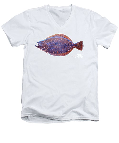 Flounder Men's V-Neck T-Shirt by Carey Chen