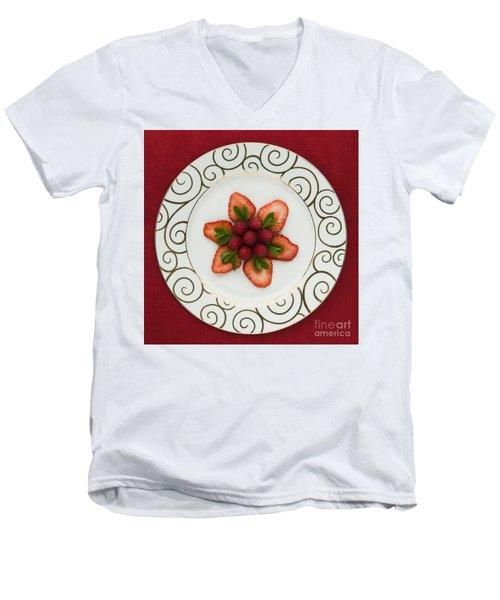 Flowering Fruits Men's V-Neck T-Shirt by Anne Gilbert