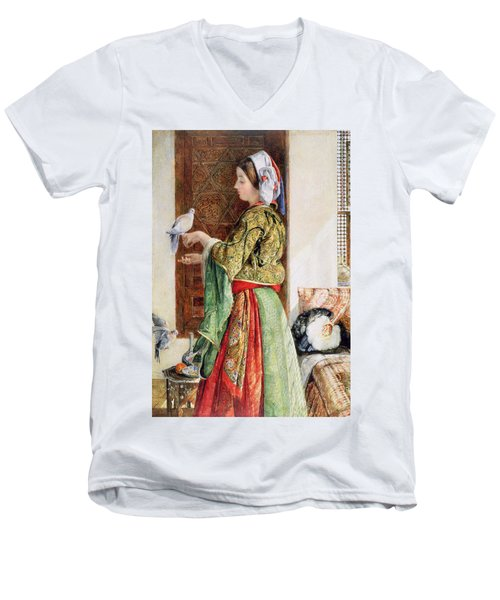 Girl With Two Caged Doves, Cairo, 1864 Men's V-Neck T-Shirt by John Frederick Lewis