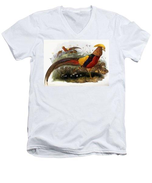 Golden Pheasants Men's V-Neck T-Shirt by Joseph Wolf