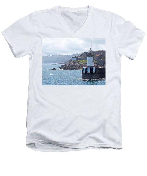 Guernsey Lighthouse Men's V-Neck T-Shirt by Gill Billington
