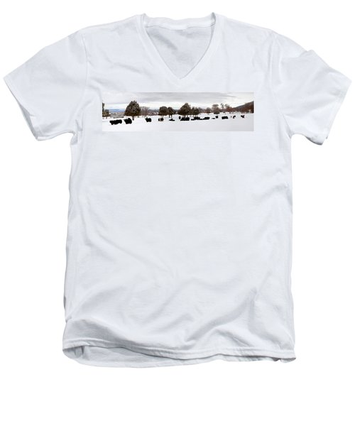 Herd Of Yaks Bos Grunniens On Snow Men's V-Neck T-Shirt by Panoramic Images