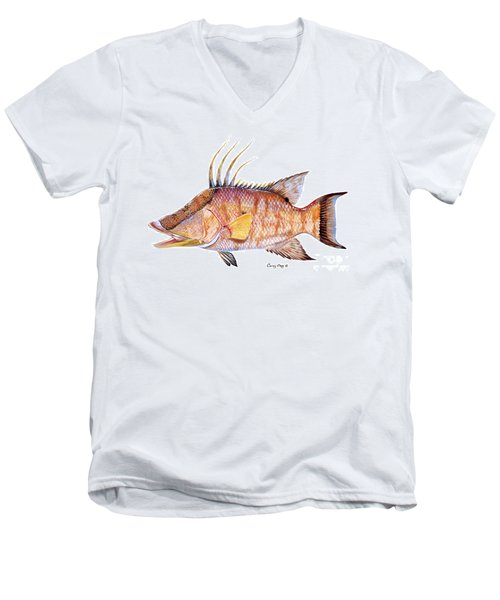 Hog Fish Men's V-Neck T-Shirt by Carey Chen