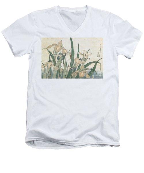 Iris Flowers And Grasshopper Men's V-Neck T-Shirt by Hokusai