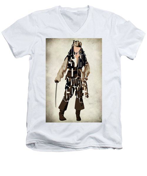 Jack Sparrow Inspired Pirates Of The Caribbean Typographic Poster Men's V-Neck T-Shirt by Ayse Deniz