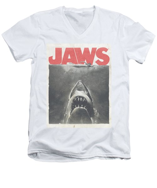 Jaws - Classic Fear Men's V-Neck T-Shirt by Brand A