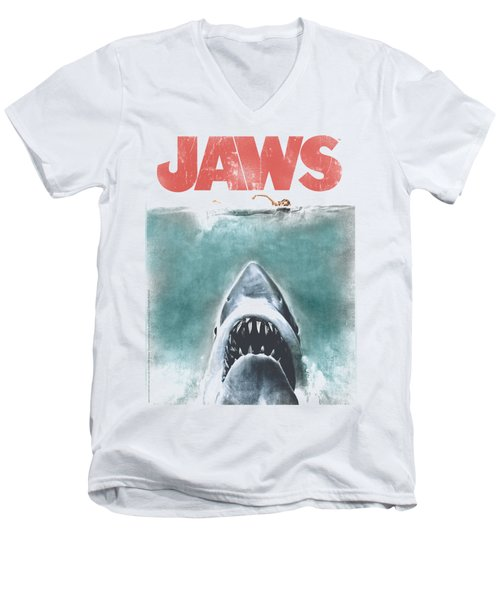 Jaws - Vintage Poster Men's V-Neck T-Shirt by Brand A