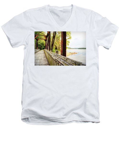 Katy Trail Near Coopers Landing Men's V-Neck T-Shirt by Cricket Hackmann