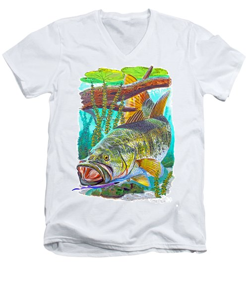 Largemouth Bass Men's V-Neck T-Shirt by Carey Chen