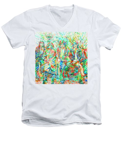 Led Zeppelin - Watercolor Portrait.1 Men's V-Neck T-Shirt by Fabrizio Cassetta